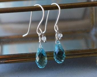 Swarovski earrings, sterling silver crystal, drop earrings, gift for her, minimalist earrings, briolette, wire wrapped, blue