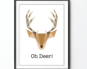 Oh Deer! print of Deer Stag head illustration origami polly geometric