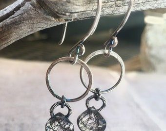 Rutilated Quartz Silver Ring Earrings