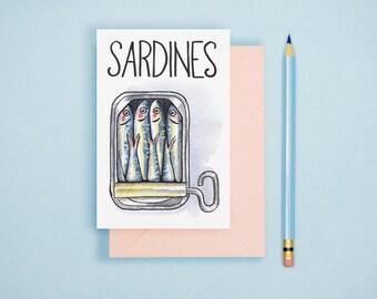 Watercolor Sardines Illustration - Food Illustration, Kitchen Decor, Watercolor Food Art, Food Art Print, Food Lover GIft, Kitchen Wall Art