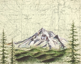 Mt Hood Wilderness, Mount Hood painting print Mountain illustration, Oregon mountain print, Portland wilderness mountain art topo map art