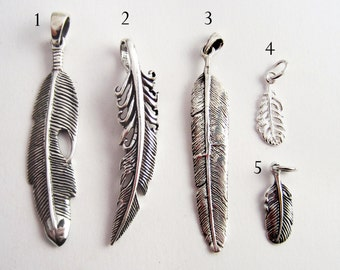 Feather Pendant - Feather Charm - 925 Sterling Silver Jewelry - Create a Custom Necklace