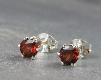 Garnet stud earrings, sterling silver, valentine's gift, garnet earrings, red gemstone,  genuine garnet, garnet post earrings