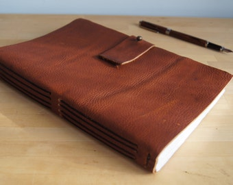 "Handmade Leather Journal -- Auburn, Black Thread, 10"" x 6.5"" Cotton Pages"