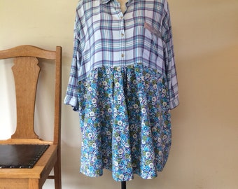 Upcycled plaid shirt floral tunic pockets XL plus size