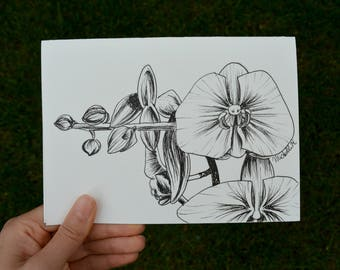 Hand Drawn Card (Handmade), Orchid Card, Flower Card, Orchid Stationery, Flower Stationery
