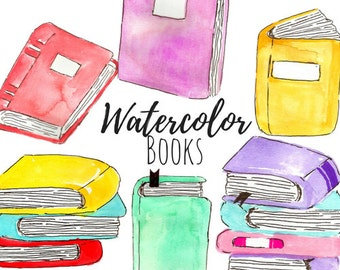 Watercolor clip art - Book Clip Art - School Clip Art- kid clip art- Hand drawn Clip Art Commercial Use
