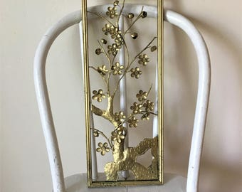 Vintage Metal Wall Art, Gold Metal Wall Decor, Vintage Wall Decor, Gold Tree