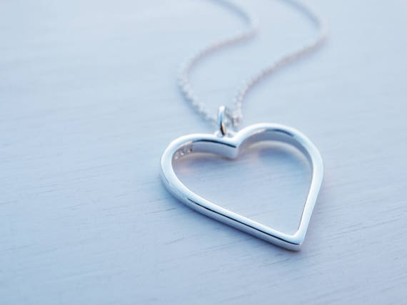 Heart Necklace, Sterling Silver, Open Heart Pendant