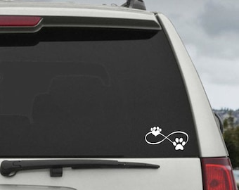 Dog  Infinity Paw Heart Decal  - Car Window Decal Sticker