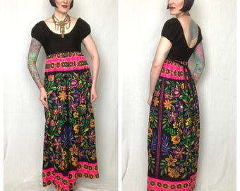 Vintage 1960's Psychedelic Neon Colorful Floral Print Empire Waist Maxi Dress by Young Edwardian by Arpeja - size Small Medium