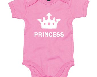 PRINCESS Babygrow in Bright Pink, SHORT SLEEVED, New Baby Gifts, Baby Girl