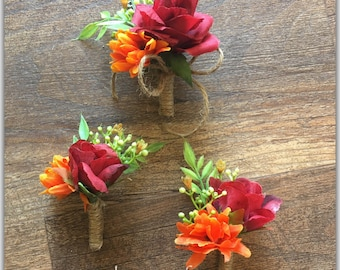 Groom boutonniere, fall wedding boutonniere, pin on flowers.