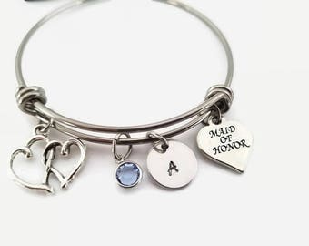 Maid of honor bracelet - Maid of honor bangle - adjustable bangle - initial stamped bracelet - personalized jewelry - bridal party gift
