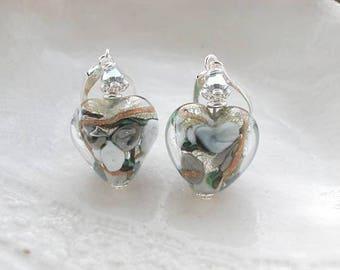 Boucles d'oreilles en verre de Murano Venise gris