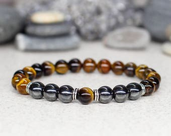 Tiger eye bracelet Men bracelet Gemstone bracelet Energy bracelet Reiki Healing bracelet Gift for men gift for boyfriend gift for uncle gift