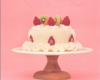 Cake crochet pattern,Play Food Crochet Pattern,Cupcakes,Cake,Pies,Chocolate and Strawberry cake