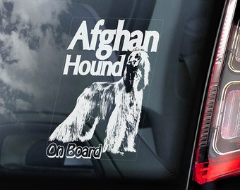 Afghan Hound - Car Window Sticker - Dog on Board Sign Decal Persian Greyhound -V01
