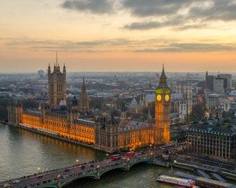 Sun setting over Westminster
