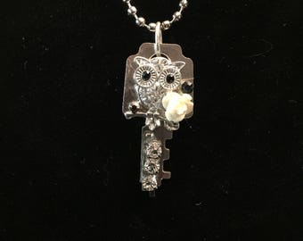 Old Vintage Key Owl with Rhinestone Details Necklace (Free Shipping)