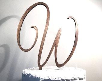 Personalized Cake Topper, Wooden Cake Topper, Script Letter Cake Topper, Wedding Cake Topper, Cake Topper, Rustic Cake Topper, Custom