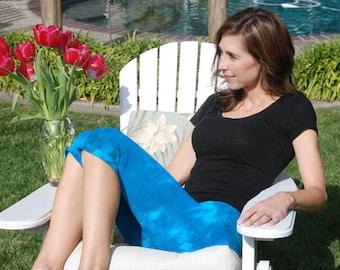 Cosmic Turquoise Sky Tie Dye Crop Yoga Pants by Splash Dye Activewear (Choose your own length)