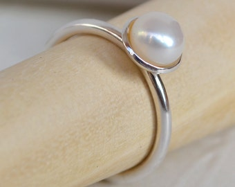Pearl Ring. Freshwater Pearl & Sterling Silver Ring. White Pearl Ring. Classic Pearl Ring. Stacking Ring. Pearl Stacking Ring. .