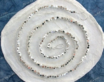 Rustic Diamond Cut Beads, 2 to 2.5mm Silver Beads, Silver Plated Brass Beads, Metal Beads, Large Hole Small Beads, Spacer Beads MB-038-200