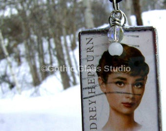 Audrey Hepburn Necklace Christmas Hollywood Actress Vintage Jewelry Breakfast at Tiffanys Valentines Sabrina Handmade Mothers Day Sisters