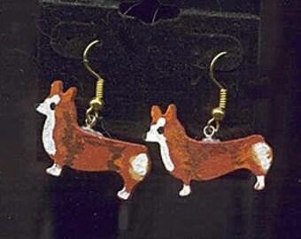 Markdown Sale...Wooden WELSH CORGI Red Standing Handpainted Earrings