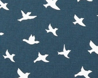 Bird Fabric by the Yard Upholstery blue Home Decor BIRD SILHOUETTE PREMiER Navy material yardage - 1 yard or more -  SHIPsFast