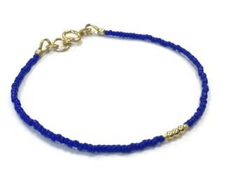 Blue Beaded Stack Bracelet Skinny Bracelet 24K Gold Vermeil Jewelry Thin Everyday Jewellery Minimal Layer Bright Colors Fashion B-TBM