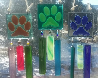 Fused Glass Dog Paw Wind Chimes