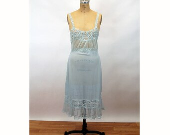 1950s nylon nightgown slip light blue crystal pleats and lace Size 36