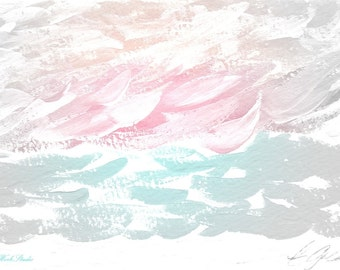 Ocean Abstract, Nursery Wall Art, Pastels, Pink Decor, Aqua, Coastal Decor, Ocean Art. Beach Art, Sea Art, Pink & Gray Decor, Neutrals
