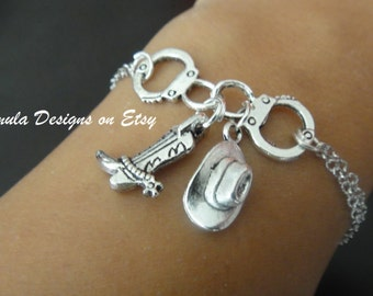 Antique Silver Cowboy Handcuff Boot and Hat Bracelet