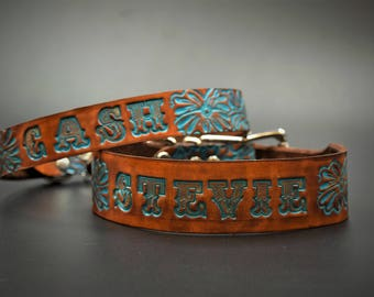 Leather Dog Collar Personalized ( Name Dog Collar ~ Turquoise Leather Dog Collar ~ Western Dog Collar ~ 1950s name on belt Dog Collar )