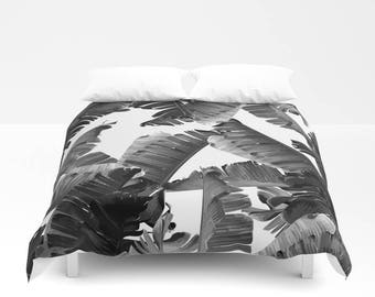 Black & White Duvet Cover, Full Queen King, Coastal Bedroom, Banana Leaf Bed Cover, Tropical Resort Decor, Modern Comforter, Tropical Glam