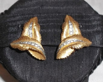 1960s Vintage Jomaz Earrings Gold Tone Leaves and Crystal Rhinestones Clip On Style