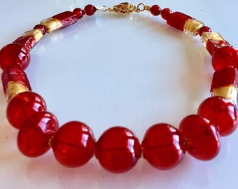 Gift Red and Gold Venetian Glass Necklace
