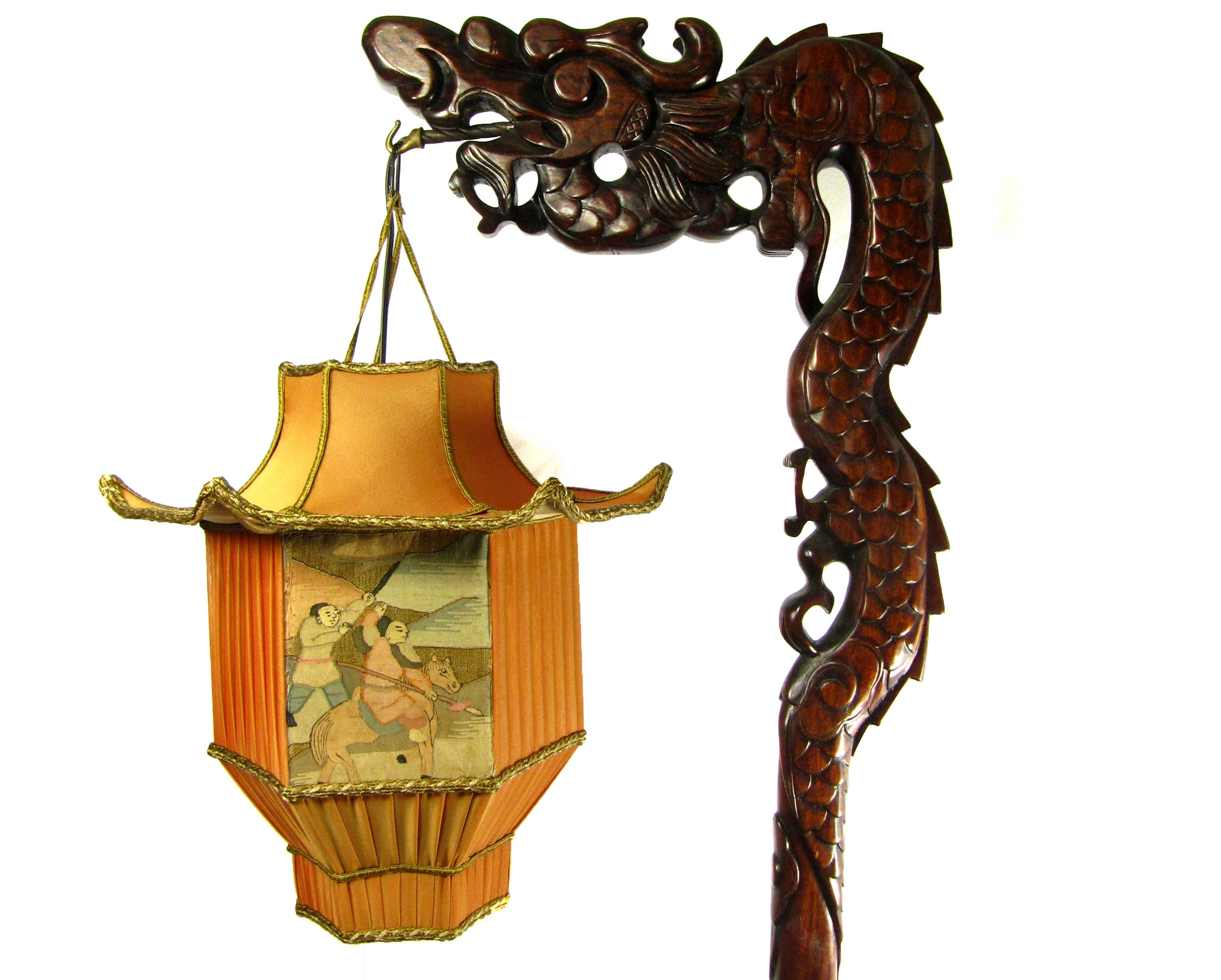 Chinese DRAGON Lamp Wood Floor Carved with Custom Pagoda Shade