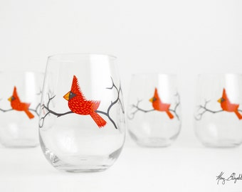 Christmas Cardinal Wine Glasses - Set of 2 Red Bird Glasses, Bird Glasses, Stemless Wine Glasses, Christmas Glasses, FREE SHIPPING