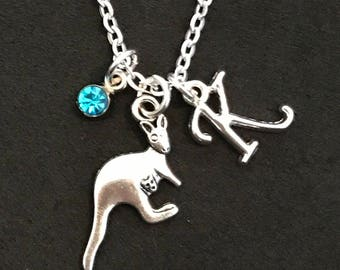 Personalized Kangaroo Necklace Kangaroo Jewelry