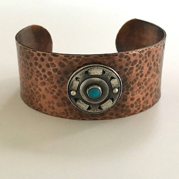 Copper Turquoise Cuff, Sleeping Beauty Turquoise, Arts and Crafts Mission Style