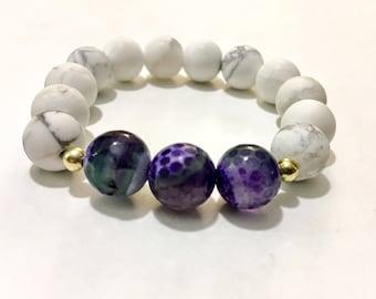 Howlite/ Natural Jade Gemstone Stacking Bracelet