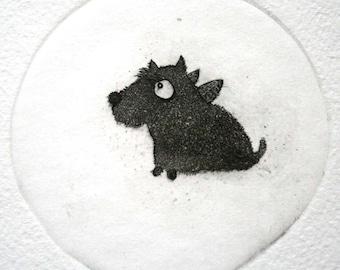 Etching - dog etching - dog art - printmaking - fine art etching - original etching - original art - 'Little Vaclov'