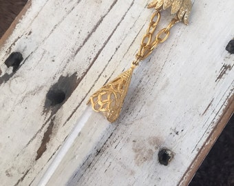 SALE Brass Filligree Crystal Shard Necklace OOAK