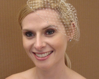 Small French / Russian Birdcage Veil With Swarovski Rhinestone Edge in Ivory White or Black - READY TO SHIP in 3-5 Business Days