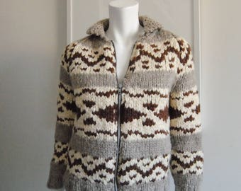 Vintage Women's XS Cowichan Sweater Zip Up Small Size