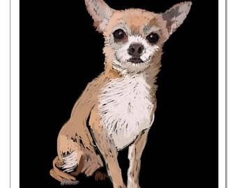 Chihuahua Dog Illustration-Pop Art Print